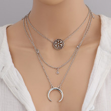 Vintage Multi-layer Hollowed Alloy Flower Crescent Pendant Choker Necklace Thai Silver Clavicle Chain Maxi Necklace For Women stylish hollowed heart choker necklace for women