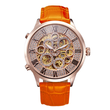 MATISSE Lady Full Crystal Dial Leather Strap Automatic Mechanical font b Watch b font Wristwatch