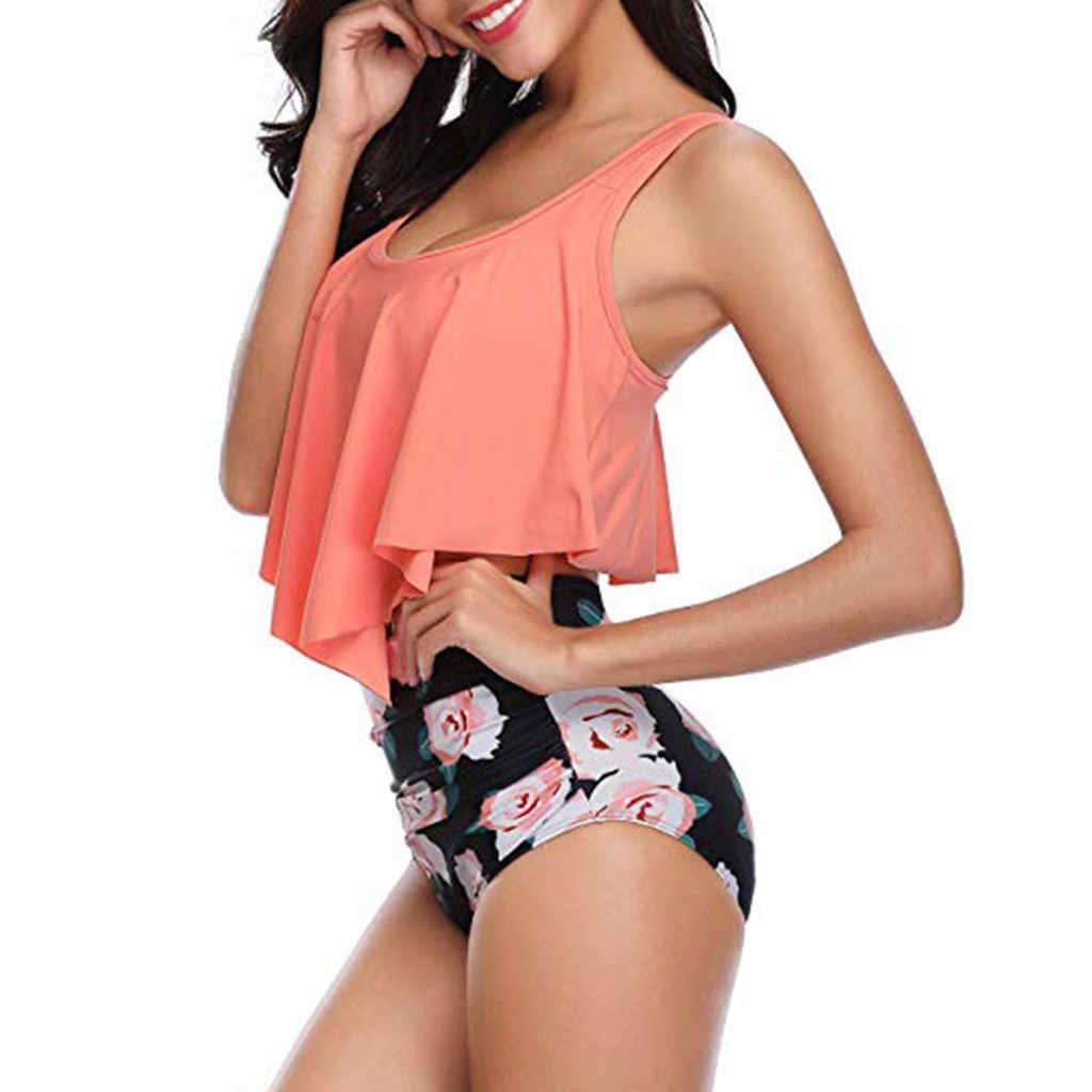 TELOTUNY السيدات ملابس السباحة النساء اثنين من قطعة زائد حجم مثير عارية الذراعين الرسن الأزهار المطبوعة ملابس السباحة الأزياء الساخن جديد Jan17