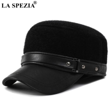 LA SPEZIA Bomber Hats Men Black Mink Fur Hats Winter Male Adjustable Warm Ushanka Caps Earflap Faux Leather Classic Russian Hat duoupa russian leather bomber leather hat women winter hat earflap real fox fur genuine leather caps with earflaps ushanka