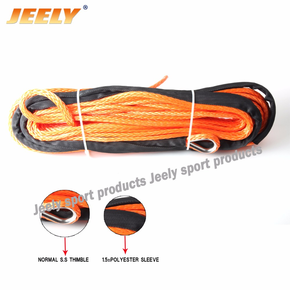 1/4''x50' 6mm*50m 12 strand off-road uhmwpe synthetic towing winch rope with 1.5m sleeve and thimble for ATV/UTV/SUV/4X4/4WD free shipping 10mm 30m 12 strand uhmwpe synthetic 4x4 atv winch rope with thimble