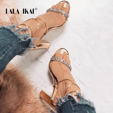 LALA IKAI Women Summer Sandals Ankle Strap High Heeled Platform Crystal Design Sexy Wedding Party Shoes Female 014C1407-5