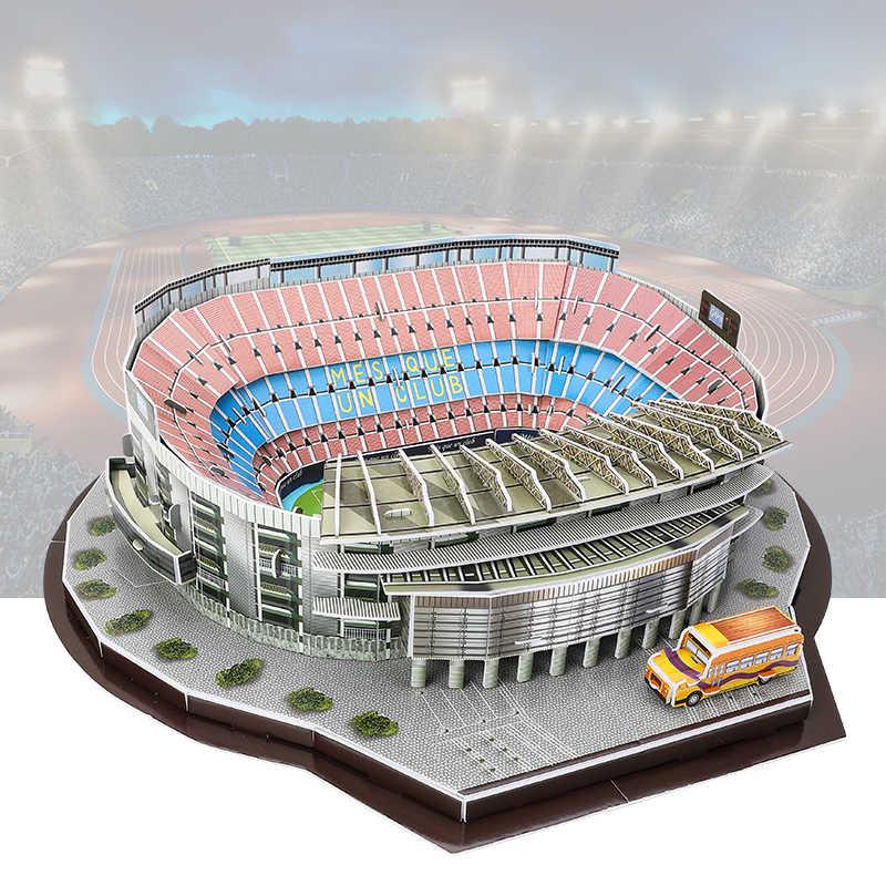 ثلاثية الأبعاد بازل قطع ملعب كرة القدم لعبة مجسمة كامب نو FC برشلونة ستامفورد جسر أنفيلد أولد ترافورد ورقة ألعاب البناء