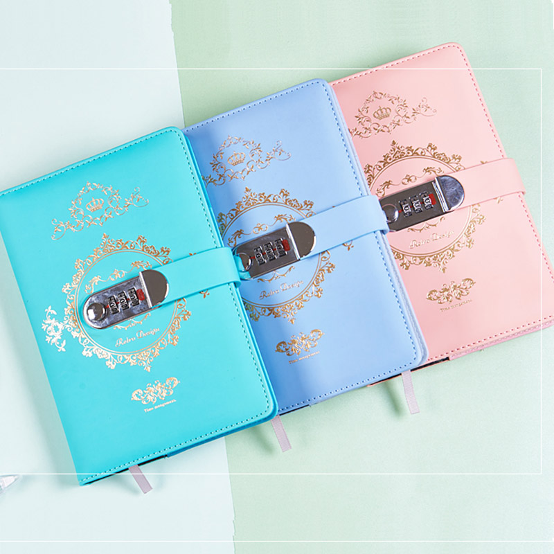 New Diary with Lock code Leather Notebook paper 140 sheets notepad note book include gift box pen Office school supplies