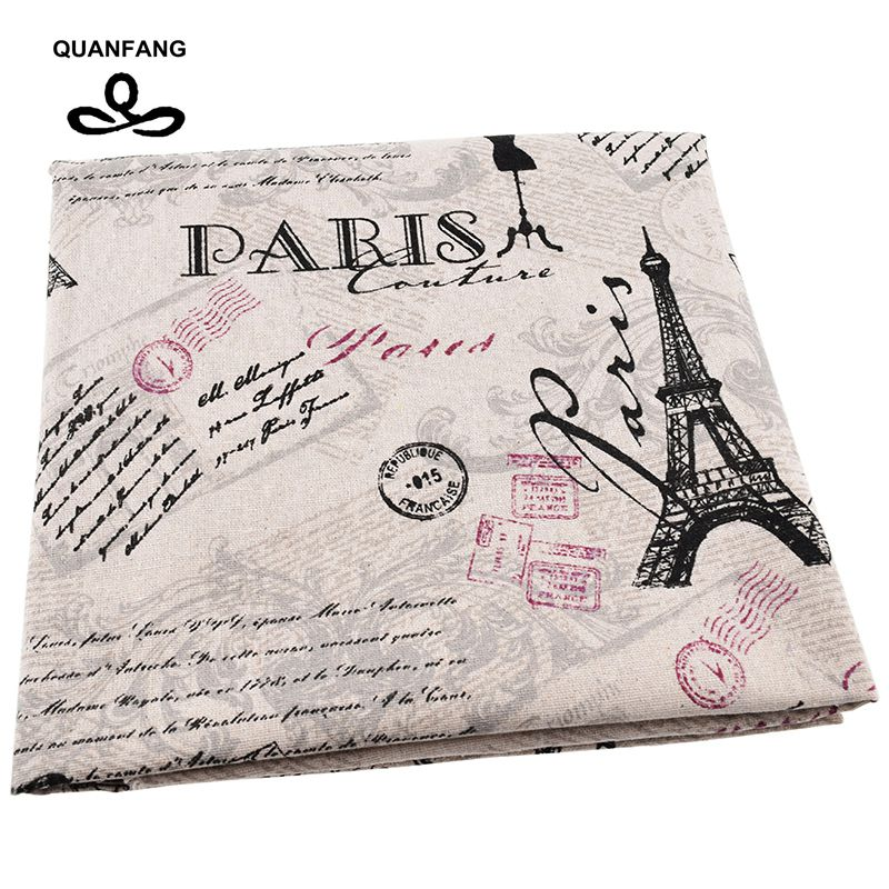 ᐂQuanfang impreso algodón Lino Telas acolchar, diy Costura, sofá