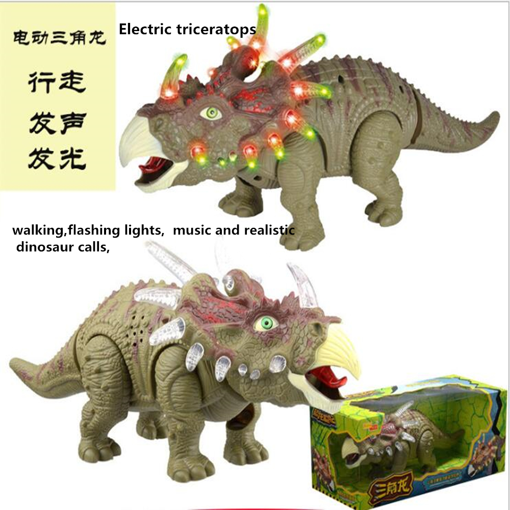 Electric Tricerato Toy Animal Toy 36cm Simulation Electric Toy Walking  Model New Children Education Dinosaur Model Toy Kids