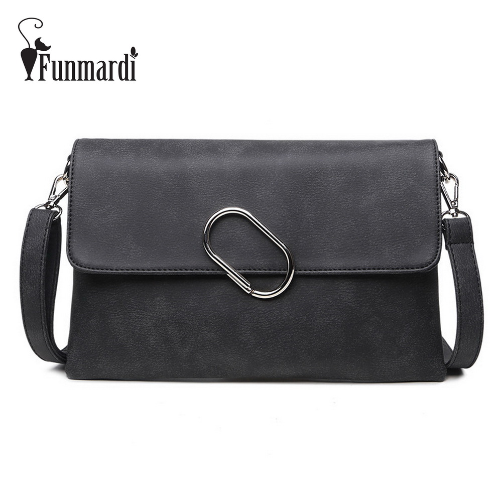 Luxury Nubuck PU leather Clutch bag Metal buckle design messenger ...