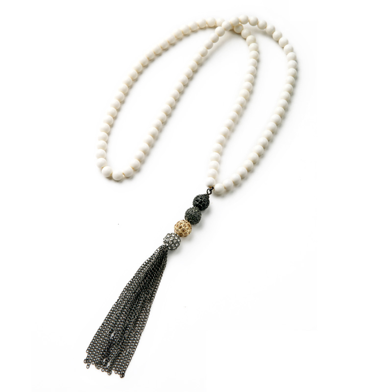 xl00159 2015 New Arrival Hot Sale Fashion White Beaded font b Necklace b font Long Tassels