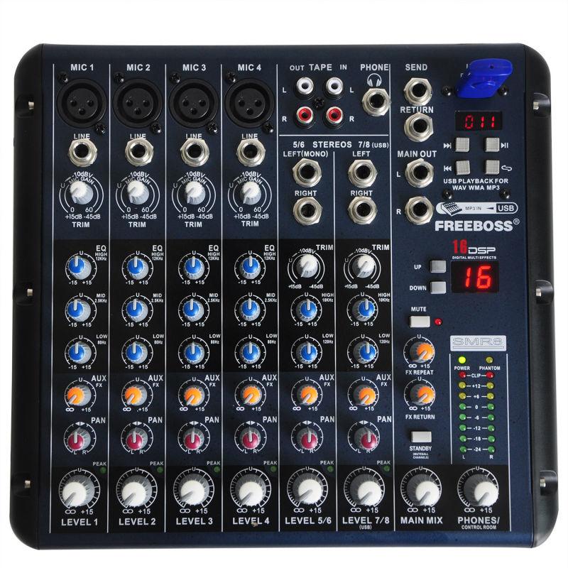 Prix pour Freeboss SMR8 8 Canaux (4 Mono + 2 Stéréo) 16 DSP Console de Son Équipement Professionnel USB Audio DJ Mélangeur