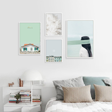 House Poster Girl Painting Abstract Canvas Prints Architecture Feather Nordic Decoration Picture Scandinavian Unframed