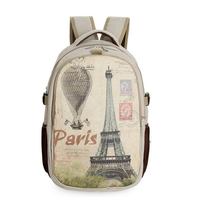2016 New Casual Canvas Backpack for Girls High Quality Waterproof shoulder Bags Eiffel Tower Pattern Girl Travel Bag Mochila