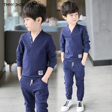 Tracksuit for boys children clothing kids teens clothes sports suit for boys striped and Pure color t-shirt and pants