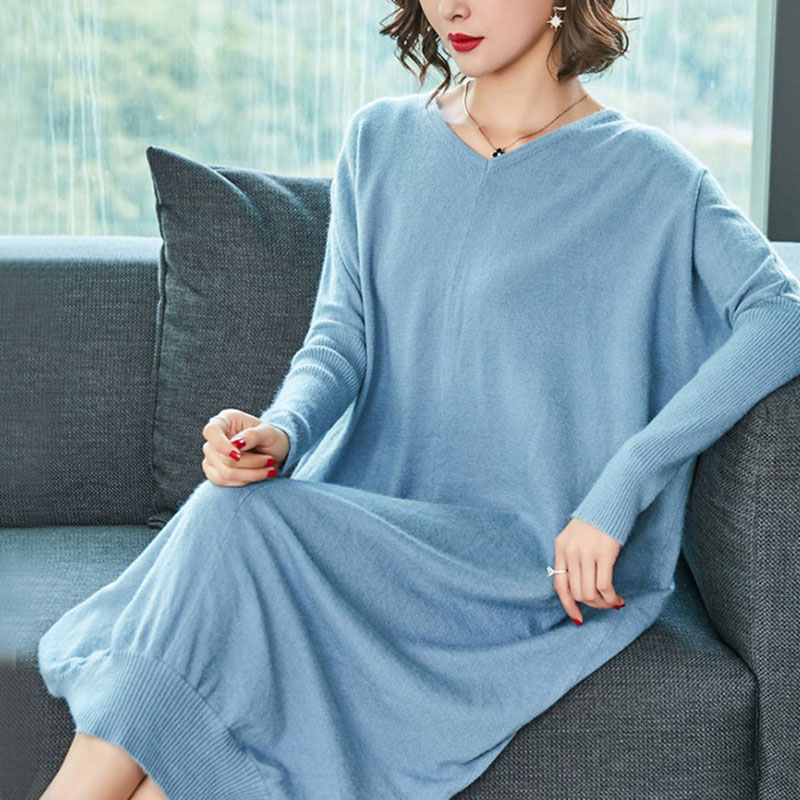2018 Autumn New V-neck Large Size Loose Thin Knit Maternity Dress A022 loose knit scalloped hem dolman jumper