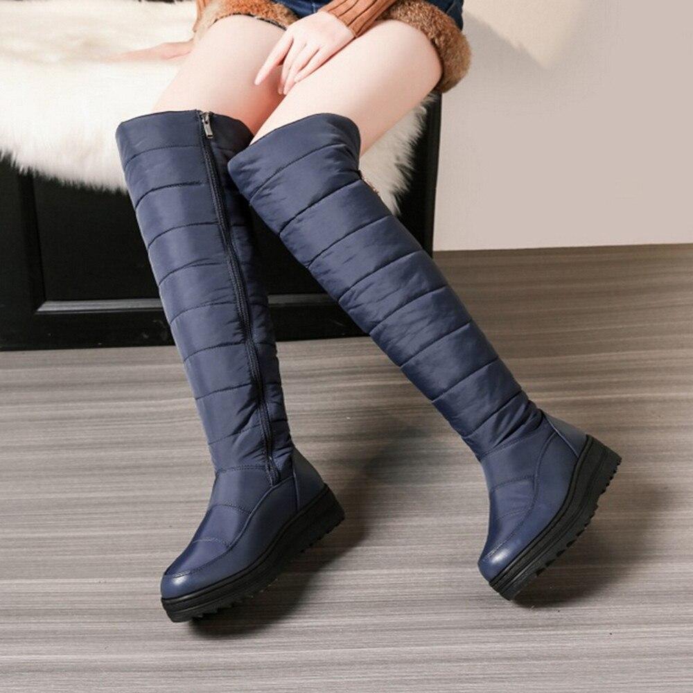 Hell Youyedian Frauen Schnee Stiefel 2018 Über Die Knie Stiefel Zipper Frauen Winter Schuhe Flache Mit Stiefel Casual Zapatos De Mujer Gute QualitäT