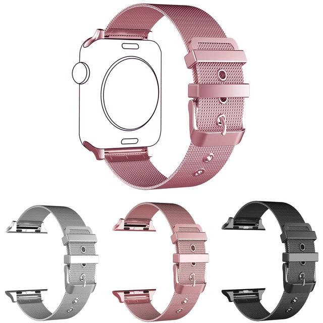 ccdd5d28322 Ouro rosa Pulseira para Apple Série Faixa de Relógio Milanese 1 2 3 Malha