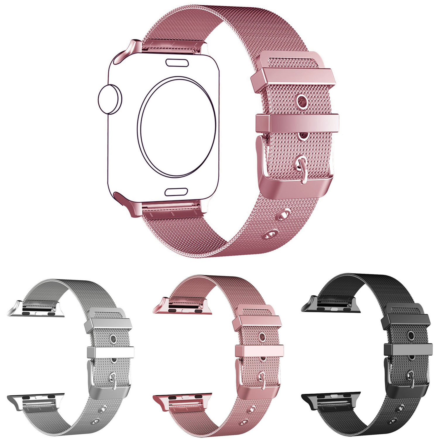 Pink Gold Milanese Bracelet for Apple Watch Band Series 1/2 Meshed Stainless Steel Wrist Strap for iWatch 42mm 38mm Wristband kopeck milanese loop strap for apple watch band 42mm 38mm mesh stainless steel bracelet strap for iwatch serie 1 2 3 wrist band