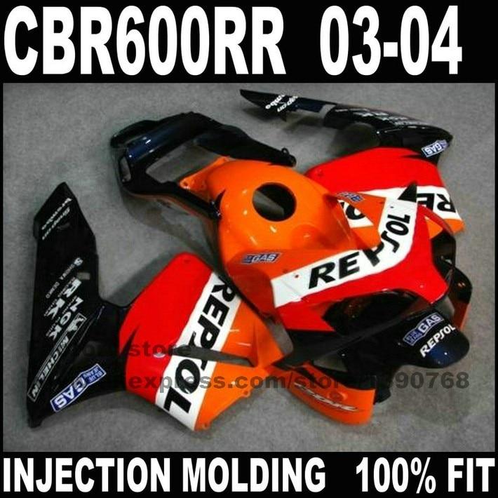 ABS инъекций часть мотоцикла для 2003 2004 HONDA CBR 600RR F5 обтекатели комплект CBR 600 RR CBR600 RR 03 04 orange repsol обтекатель