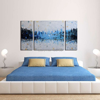 """Modern 100% Hand Painted Oil Painting On Canvas """"Blue City"""" 3 Piece Abstract Wall Art Picture For Living Room Artwork Wall Decor"""