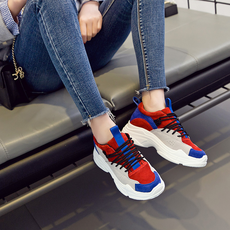 Новинка; женская обувь; первобытные кроссовки на толстой подошве; Уличная обувь для студентов; женская обувь для бега