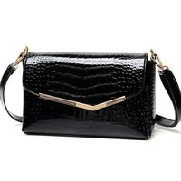 Brand Women Messenger Bags Crocodile Pattern Patent Leather Handbag Female Small Shoulder Bags Envelope Clutch QT