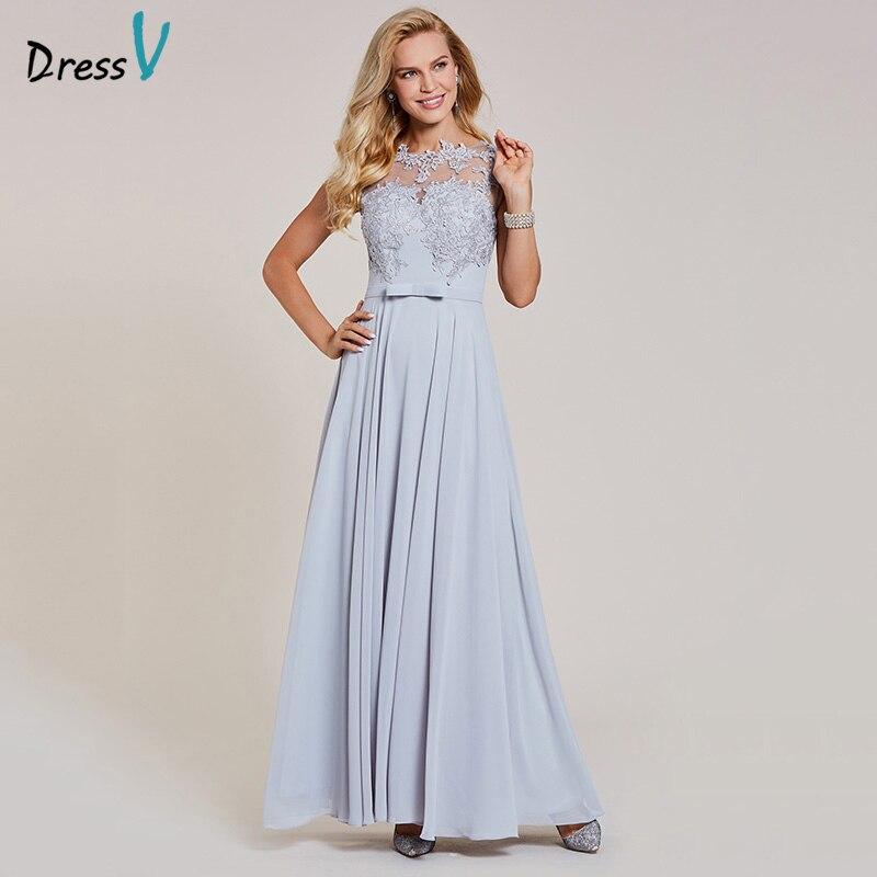 Dressv Appliques A Line Evening Dress Silver Bow Cap Sleeves Floor Length Gown Women Formal Wedding Party Long Evening Dresses