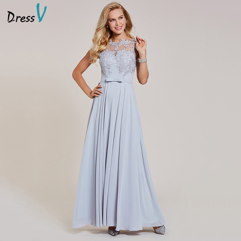 Dressv appliques a line   evening     dress   silver bow cap sleeves floor length gown women formal wedding party long   evening     dresses
