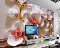 Beibehang Photo Wallpaper 3D Phalaenopsis Relief Wall Modern Fashion Floral Decorative Painting Papier Peint Mural 3d