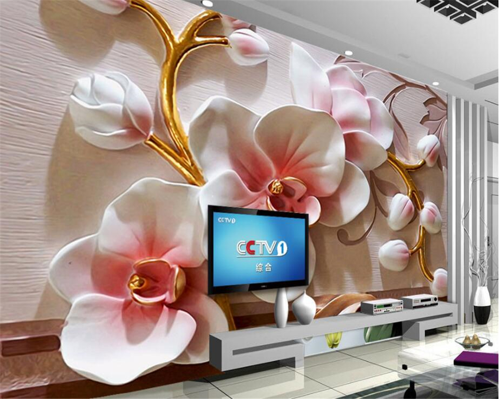 beibehang photo wallpaper 3D Phalaenopsis relief wall Modern fashion floral decorative painting papier peint mural 3d wall paper beibehang fashion modern 3d relief