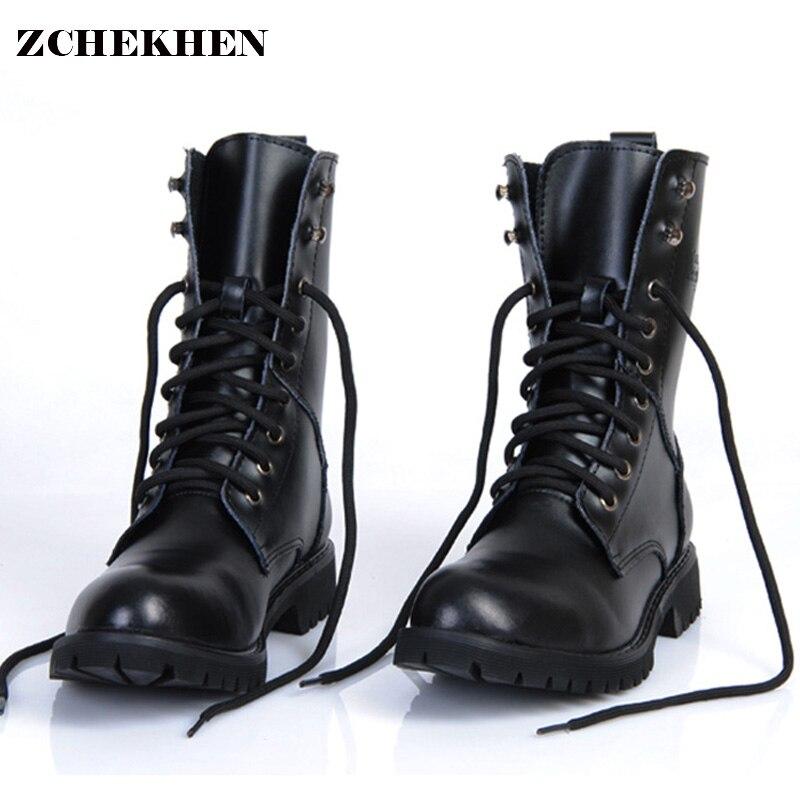 Cuir véritable, homme bottes militaires Hommes de Moto Equitation Chasse chaussures de marche décontractées Designer désert Botas Hombre noir #11