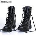 De los hombres de cuero genuino Botas militares de los hombres motocicleta caza zapatos casuales de Martin Botas Hombre negro #11
