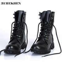 Echtes Leder Männer Military Stiefel männer Motorrad Reiten Jagd Casual Wanderschuhe Designer wüste Botas Hombre schwarz #11