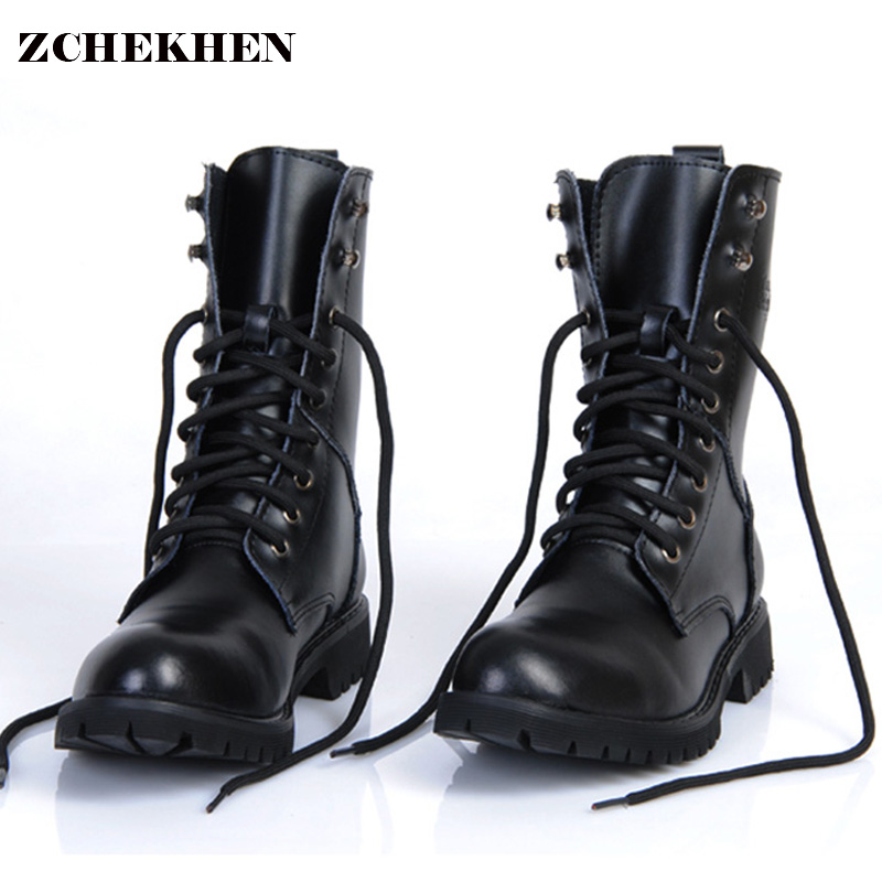Genuine Leather Men Military Boots Men's Motorcycle Riding Hunting - Men's Shoes - Photo 1