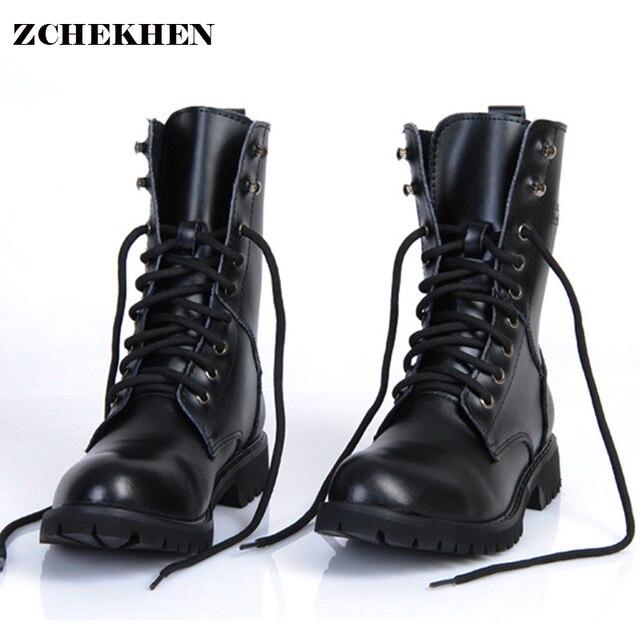 7fbaf79597 Genuine Leather Men Military Boots Men s Motorcycle Riding Hunting Casual  Walking Shoes Designer desert Botas Hombre