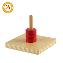 Montessori Kids Toy High-Quality Wooden Discs on Vertical Dowel