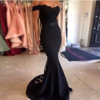 Custom Made Mermaid Cap Sleeve Satin Lace Sexy Long Black Elegant Women Party Dresses Vestido De