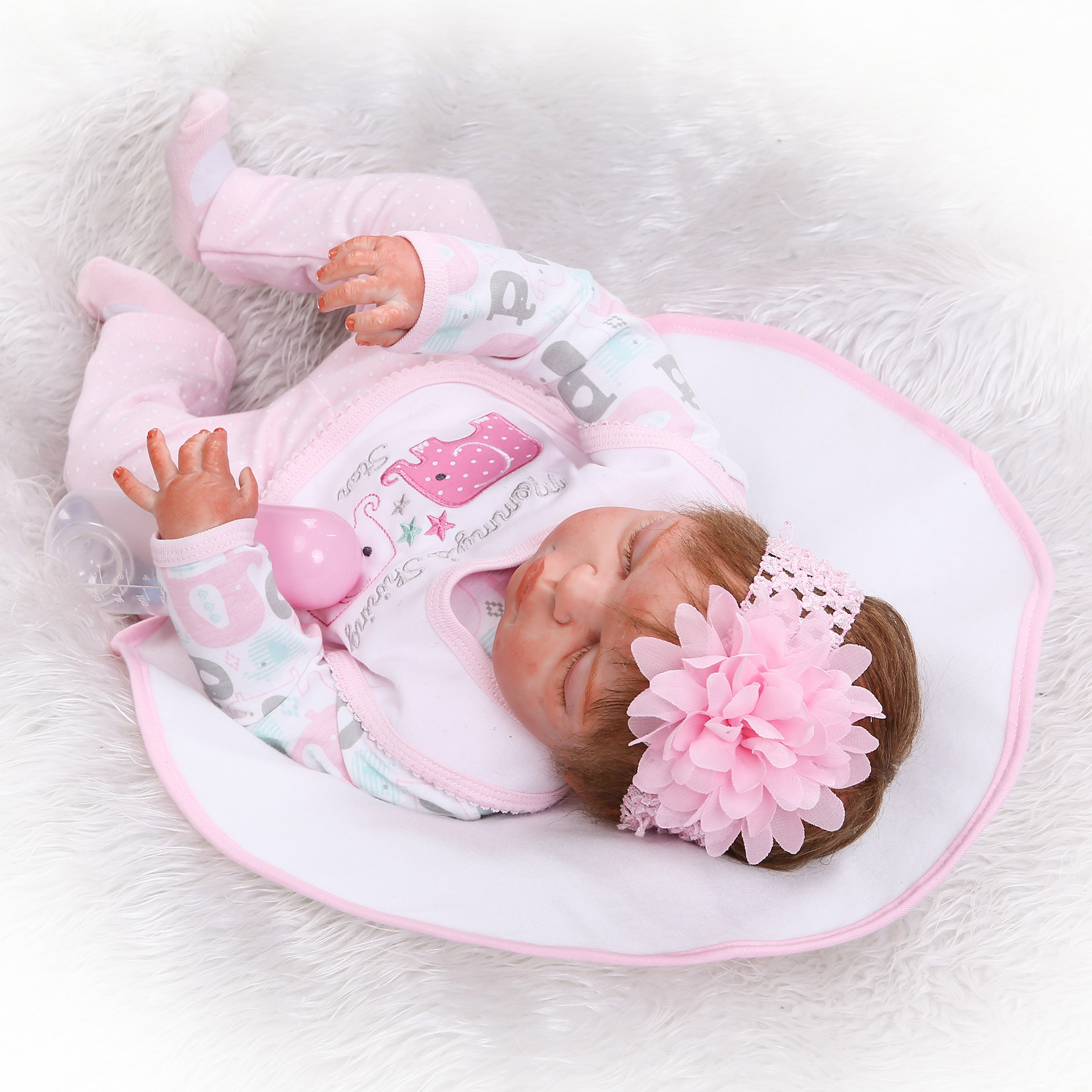 Image 5 - 48CM bebe realistic reborn premie baby doll hand detailed painting pinky look full body silicone Anatomically Correct-in Dolls from Toys & Hobbies