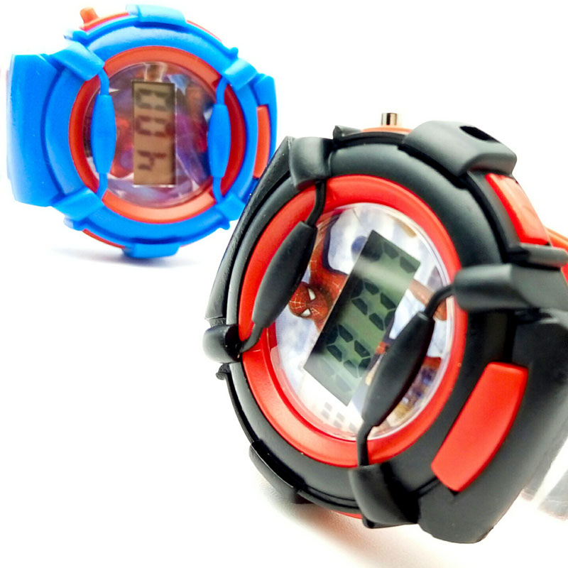 Wholesale NEW 3D Spiderman Cartoon Watches/Fashion Children Boys Kids Students Spider-Man rubber Sports Cartoon clock