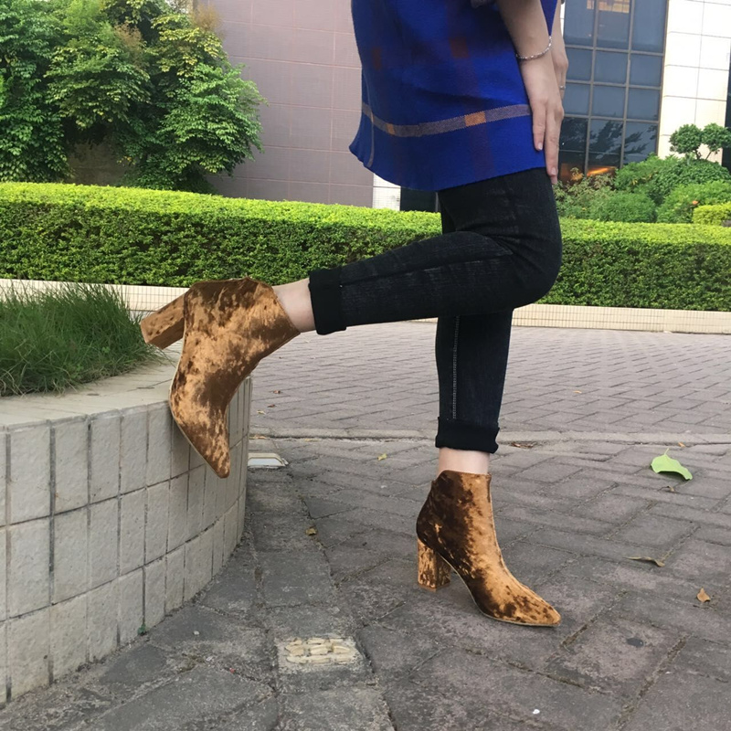 MIQUINHA Brand Pointed Toe Women Ankle Boots Velvet Zipper Design Short Booties Super Star Fashion Runway Dress Shoes High Heel fashion velvet women short booties pointed toe back zip metal decor ankle boots botines mujer women platform pumps shoes