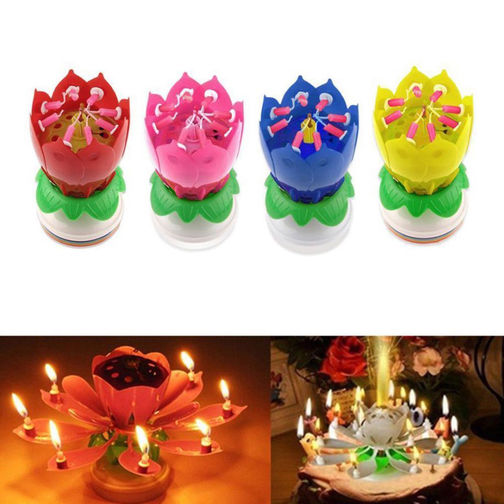8 Candles Rotating Musical Lotus Flower Candles Cake