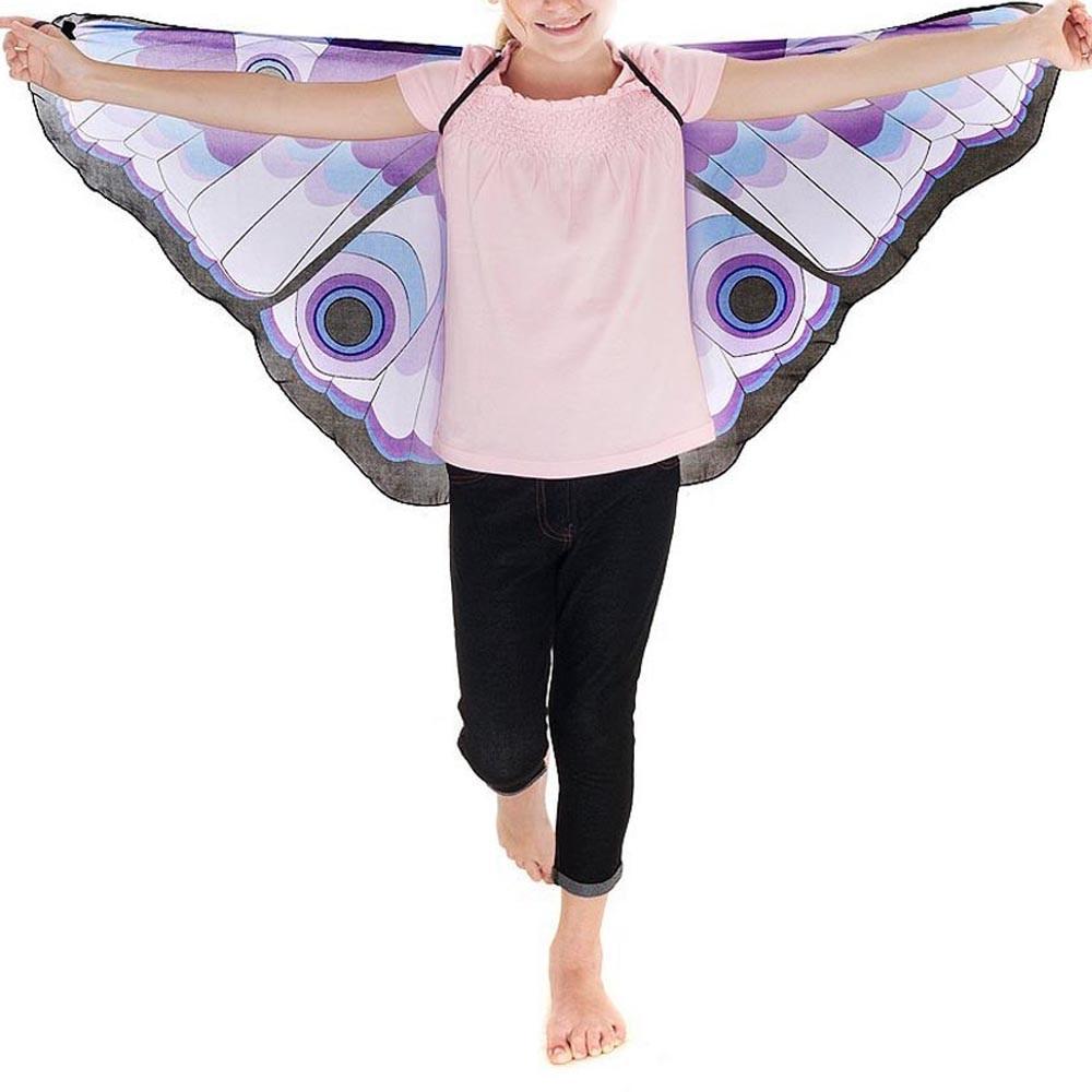 Mode Kind Kinder Mädchen schal Böhmischen stil Schmetterling Print Schal Pashmina Kostüm Zubehör ponchos und capes # H20