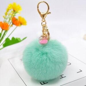 2019 nowy Cute Animal brelok do kluczy z jednorożcem kobiety pompon Faux Rabbit Fur brelok z piłką gwiazda szklana ozdoba Pom Pom klucz torba na łańcuszku wisiorek