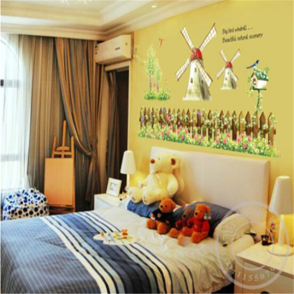 Cartoon Lovely Windmill vinyl wall stickers for kids rooms children ...