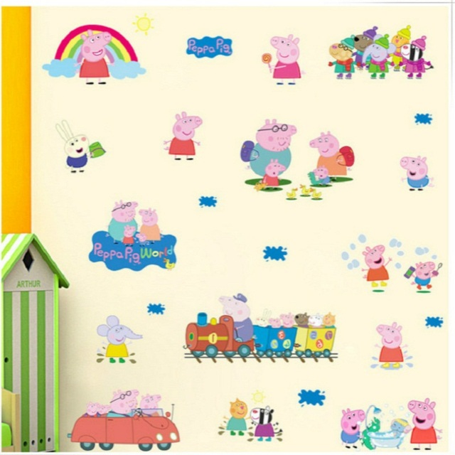 Us 4 99 Free Shipping Peppa Pig 3d Diy Photo Tree Pvc Wall Decals Adhesive Family Walll Stickers Mural Art Home Decor In Stickers From Toys