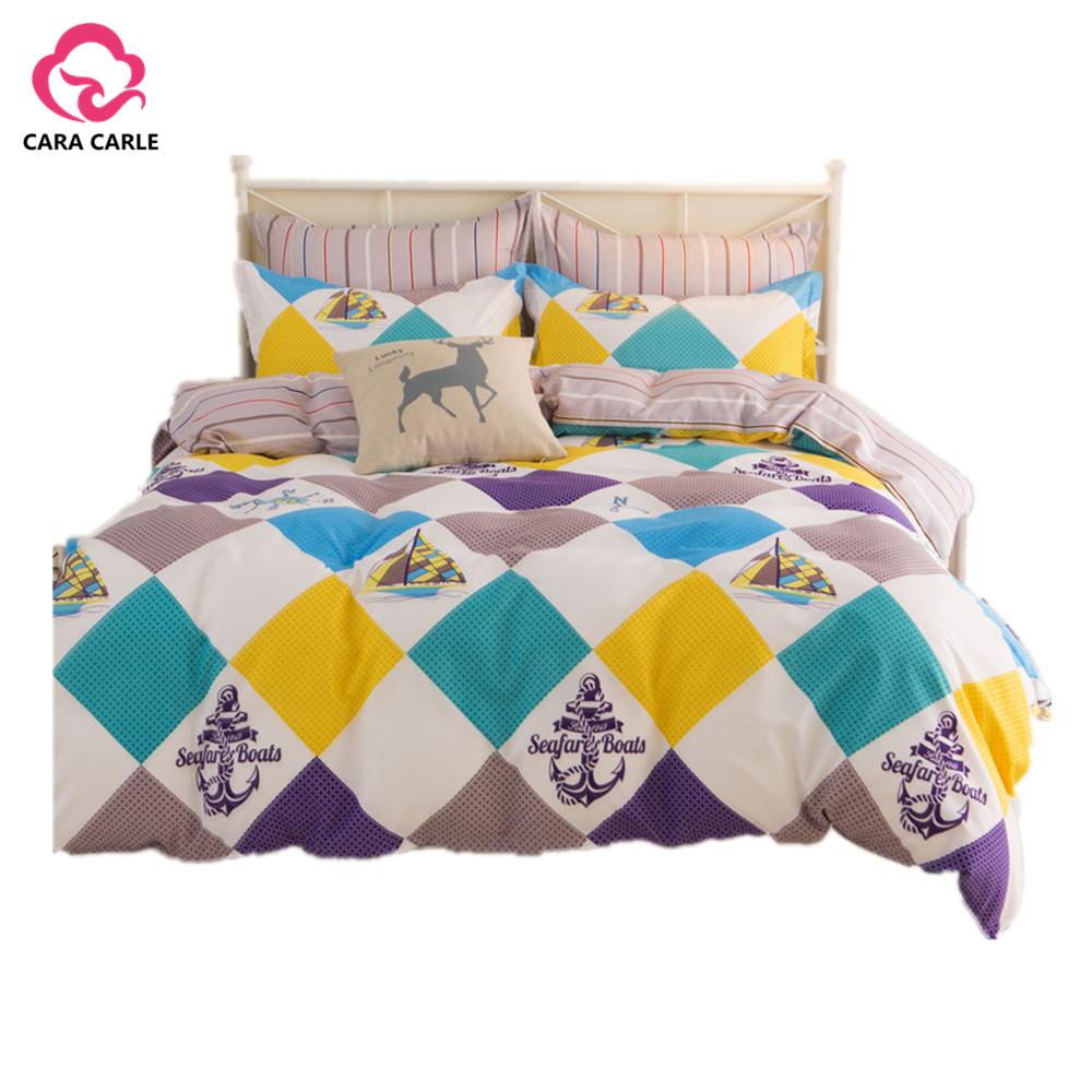 Cara carle bed linen 4pcs cotton bedding sets king queen for Housse de duvet