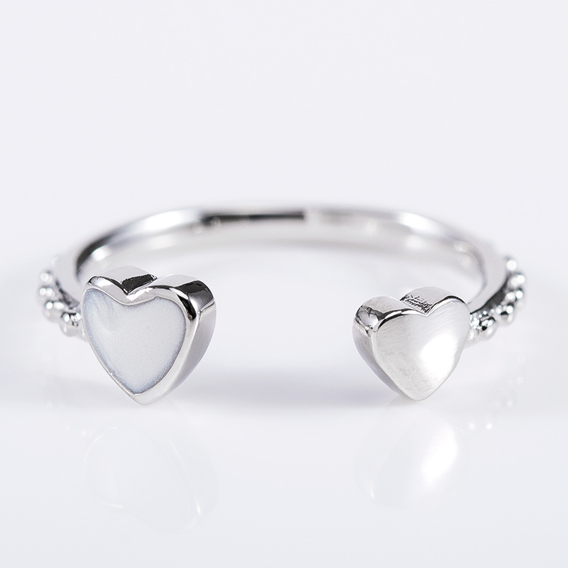 New Fashion Jewelry 925 Silver Crystal Swarovskis Simple Wild Little Love Opening Ring Fit Women And Women Mother's Day