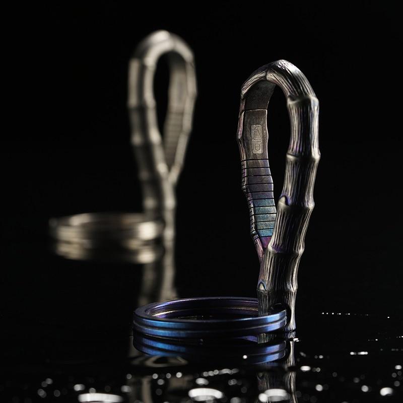 LLavero de titanio de lujo para coche de bambú superinsignia de titanio llaveros Top exquisito hecho a mano para llaveros hombres mujeres mejor regalo - 5