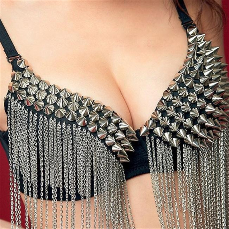 CHARING Hot Sexy Push Up Women Party Bras Spike Rivet Tassels Metallic Punk Nightclubs Bar Dance Bra