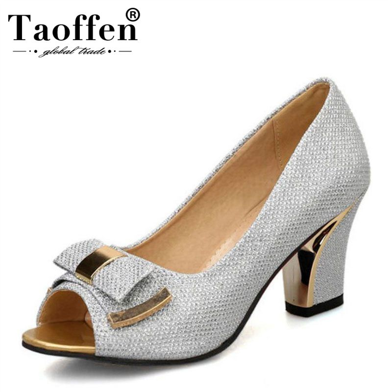 Taoffen Size 33 43 Women Thick High Heels Shoes Bling Pumps For Lady Matal Bowknot Peep Toe Shoes Women Slip On Party Footwear