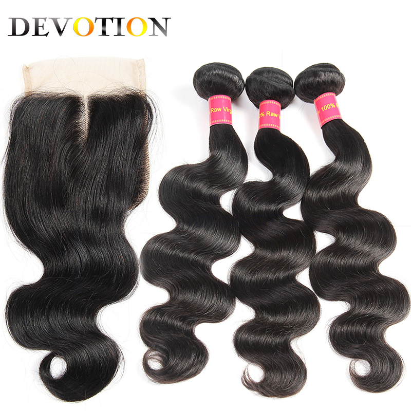 Devotion Peruvian Body Wave 3 Bundles With Lace Closure Human Hair Extensions bundles with Closure Non Remy Hair Natural Color