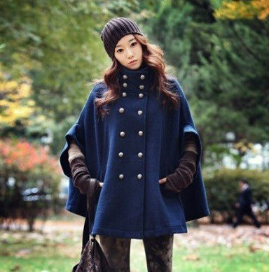 2787a4a0d Free shipping 2012 winter jacket ladies' navy blue free size mantle ...